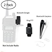 TWAYRDIO 2 Pin Wireless Two Way Radio Earpiece Bluetooth Walkie Talkie Headset with PTT for Kenwood/Baofeng BF-888s/Puxing Wouxun(2 Pack)