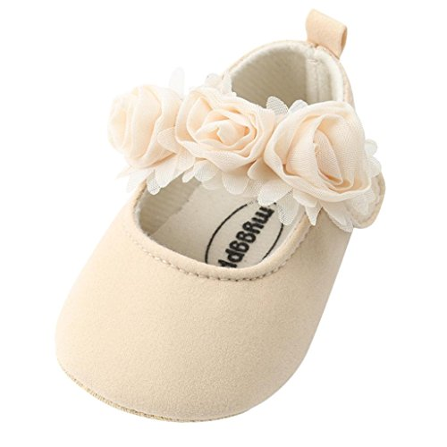 Voberry® Baby Girls' Crib Moccasins Cute Soft Sole Sneakers Mary Jane Flat Shoes (6~12 Month, Beige.1)