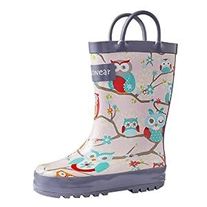 Oakiwear Girls Rubber Rain Boots w/Easy-On Handles (Toddler,...