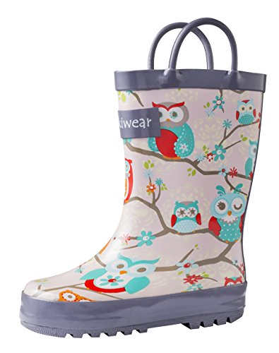 Girls Rubber Rain Boots w/ Easy-On Handles
