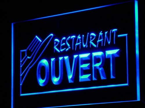 ADVPRO Cartel Luminoso j184-b Ouvert Restaurant Open Food ...