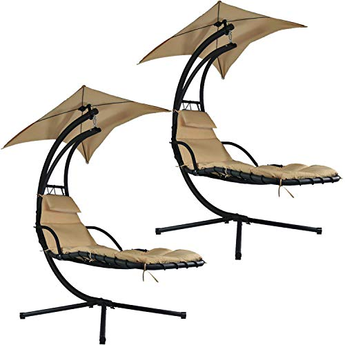 Sunnydaze Beige Floating Chaise Lounger Swing Chair with Canopy Umbrella, 43 Inch Wide x 80 Inch Tall, Set of 2 - Lounger Canopy