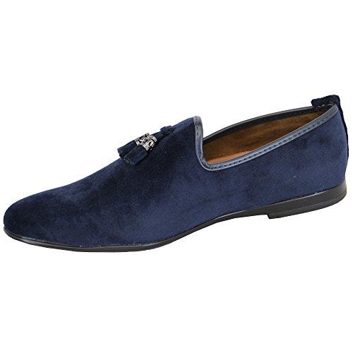 Stile Stile Mocassini nappe Effetto Scamosciato Italiano Blu Mocassino On Scarpe Scarpe Scarpe Slip Vitale G1616 da Uomo Stilista xR1RgP