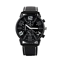 Acamifashion Men Casual Quartz Analog Silicone Band Stainless Steel Sports Wrist Watch - White