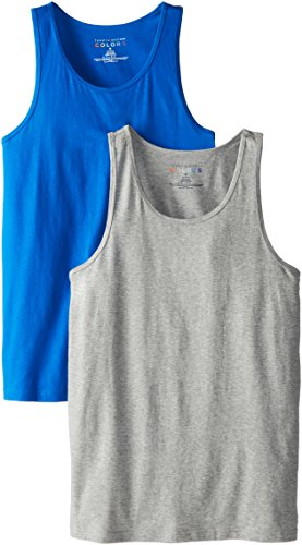 Tommy Hilfiger Men's 2-Pack Tank Top, Gray Solid/Blue Solid, Large