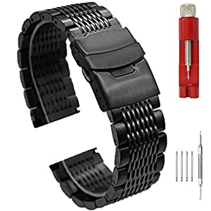 Matte Finish Brushed 20mm Watch Band Black Stainless Steel Mesh Band Fold-Over Clasp Metal Strap for Men's Watch Bracelet