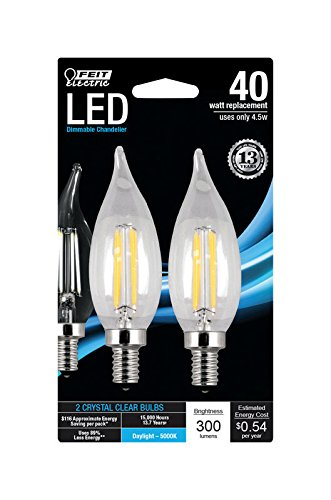 (Feit Electric BPCFC40/850/LED/2 LED Chandelier Bulb, Candelabra Base, Clear Flame Tip, 40 Watt Equivalent Daylight, 2 Pack)