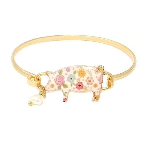 Pig Floral (Emulily Floral Pig Bangle Bar Wire Bracelet with Pearl Charm (Worn Gold))