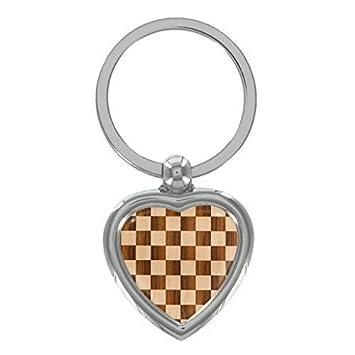 1StopShops Tablero de ajedrez Metal Forma Corazón Llavero en ...