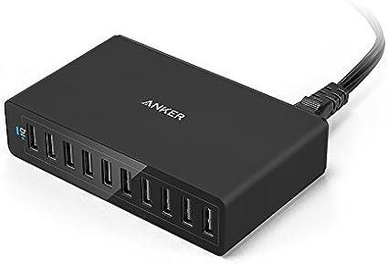 Anker PowerPort 10 (10 Puertos Cargador de Pared para Escritorio) para iPhone X, 8/8 Plus, 7/7 Plus, 6s / 6s Plus, 6/6 Plus, iPad Air 2 / Mini 4/3, Galaxy S6 / S6 Edge y Más