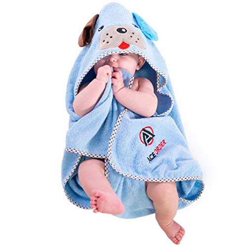 Super-Cute Baby Hooded Bath Towel & Bonus Baby Wash Cloth| Adorable & Ultra-Soft Infant Towel with Puppy Ears | Hypoallergenic, Skin-Safe & Washable Fabric | Perfect Gift Idea for Newborns & Toddlers