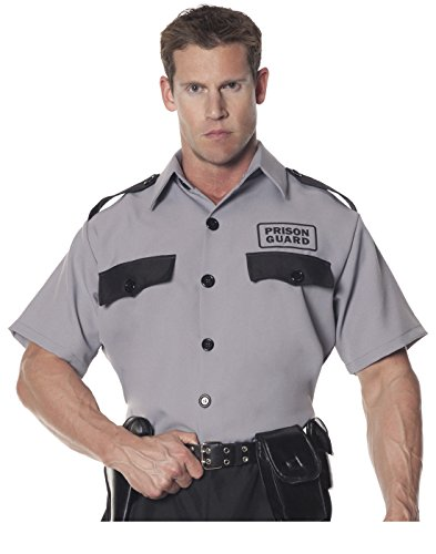 Underwraps Men's Prison Guard Shirt, Grey/Black, One (Male Prison Guard Costume)
