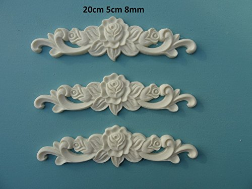 Decorative rose on scrolls x 3 applique onlay furniture moulding P20X3 ()