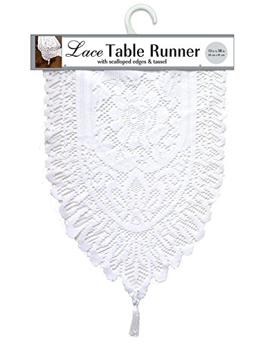 Ritz Lace Table Cloth Runner, 13 by 72-Inch (White Lace Table Runner)