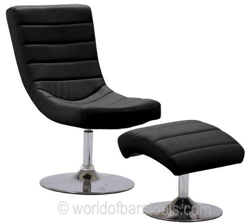 Costantino Black And Chrome Swivel Chair & Foot Stool