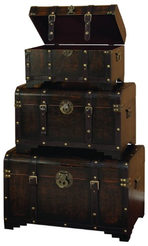 - Deco 79 Wood Usable Leather Trunk, Brown, Set of 3
