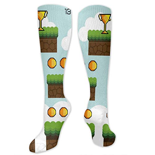 (Compression Socks,Cartoon Pixel Game Interface Trophy Dots Level Up Jump Score Red Hearts Clouds)