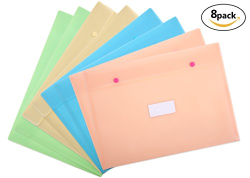 Button Booklet Envelope - Skydue Plastic Envelope / Poly Envelopes with Snap Button Closure and Label Pocket A4 Size Booklet Document File, Pack of 8