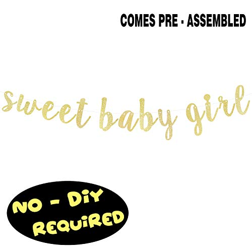 Girl Baby Shower Banner (Sweet Baby Girl Gold Glitter Cursive Script Bunting Banner It's a Girl Baby Shower First Birthday Party Decoration Garland Fireplace Table Wall Sign - NO DIY)