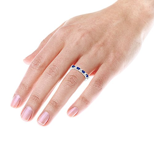 Luxurman Unique 14K Diamond and Sapphire Ring For Women (White Gold Size 6.5)