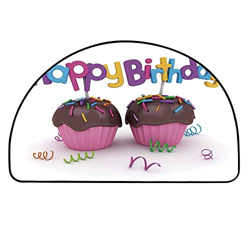 YOLIYANA Birthday Decorations Entry Mat Rugs,3D Illustration of Chocolate Covered Cupcakes with Greetings Attached for Front Door,21.6