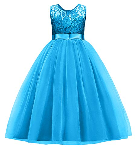 Little Big Girls' Tulle Flower Lace Pageant Dress Floor Length Christmas Party Wedding Bridesmaid Dance Evening Gowns Blue 11-12]()