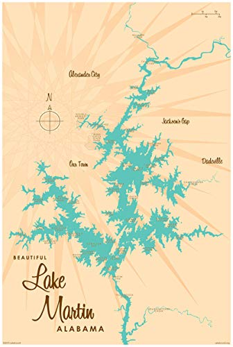 Lake Martin Alabama Vintage-Style Map Art Print Poster by Lakebound (24