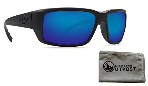 Costa Fantail Blue Mirror Glass - W580 Blackout Frame Sunglasses with - Fantail Blackout