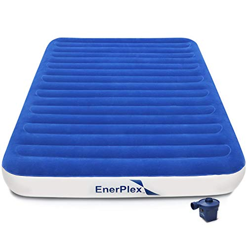 EnerPlex 2019 Camping Luxury Queen Size Air Mattress Camping Queen Airbed with High Speed Wireless Pump Single High Inflatable Blow Up Bed for Home Camping Travel 2-Year Warranty (Best Air Mattress Inflator)