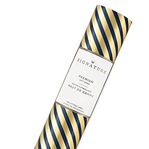 Hallmark Signature Holiday Wrapping Paper with Cut Lines on Reverse, Gold Navy Stripe (25 sq. ft.) (Stripe Wrap Gift Christmas)