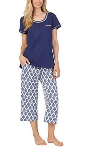 Carole Hochman Women's 3 Piece Pajama Set - Top, Short, and Capri Pant (X-Large) Blue/White (Carole Hochman 3 Piece)