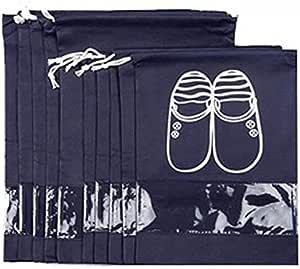 Navy Blue Portable Travel Shoe Bags Storage Organizer Bag for Men Women-10-PCS