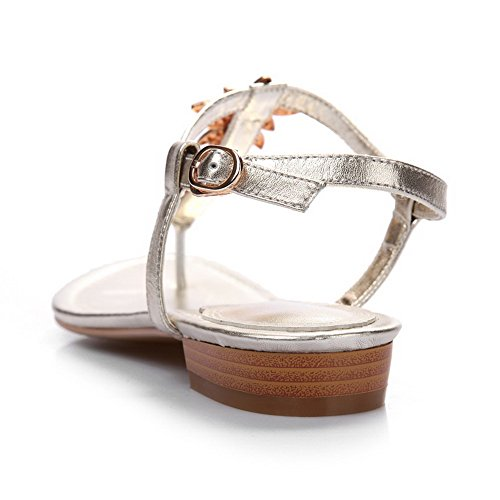 AllhqFashion Womens Split Toe Soft Material Low-heels Solid Buckle Sandals Gold 2WHSDV9eh