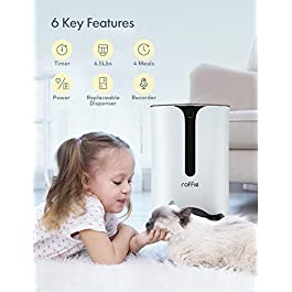 Automatic Cat Feeder, Roffie Dog Food Dispenser for Small Pets with Distribution Alarms, Portion Control, Voice Recorder and Programmable Timer for up to 4 Meals per Day