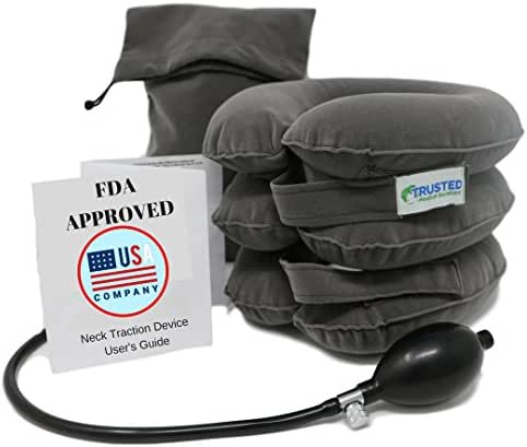 Trusted Cervical Neck Traction Device - One Size Fits All Necks - US Owned FDA Registered - Relief for Chronic Neck & Shoulder Alignment Pain - Inflatable Neck Stretcher Collar for Home Relief