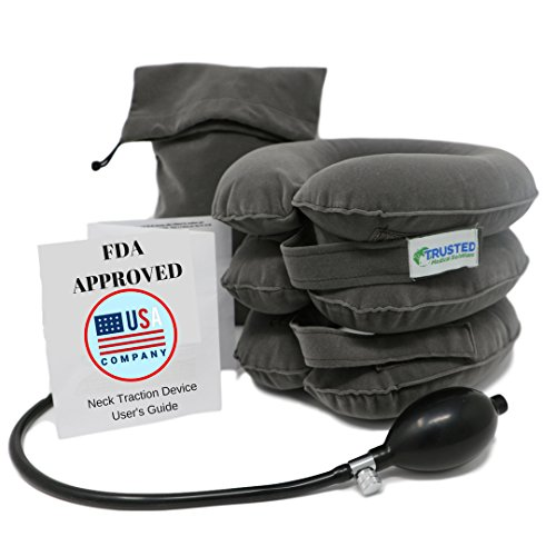 Trusted Cervical Neck Traction Device | One Size Fits All ★ US Owned FDA Registered Pain Relief for Chronic Neck & Shoulder Alignment Pain | Inflatable Neck Stretcher Collar for Home Relief (Best Treatment For Bulging Disc In Neck)