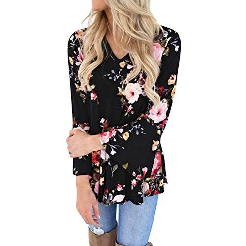 Femme Elgante Noir Costume Chic Shirt Boho Mode Chemisiers Longues Fleurs Jeune Haut Blouse V Impression Printemps Tops Mode Bouffant Manches Manches Trompette Cou x5BfwE
