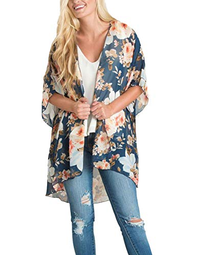 (Women Half Sleeve Swimwear Cover Up Floral Kimono Cover up Short Blouse Tops M)