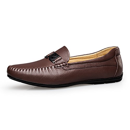 Zro Mens Fashion Driving Casual Slip On In Pelle Marrone Scuro