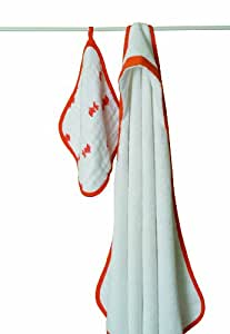 aden + anais Muslin Hooded Towel & Washcloth Set, Splish Splash (Discontinued by Manufacturer)