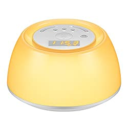 AMIR Sleep Therapy Sound Machine & Wake UP Light, 4 Soothing Music for Sleep + 4 Natural Sounds for Wake Up, Multifunctional Night Light with RGB Multi-Color, 3-Level Dimmable Beside Lamp