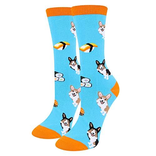 Women's Girls Novelty Crazy Dog Cute Funny Corgi and Sushi Cotton Crew Socks