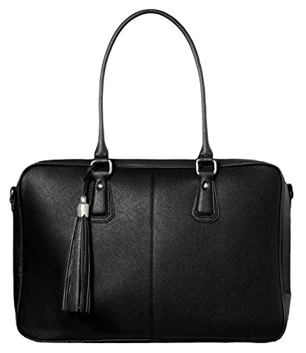 BfB Laptop Bag for Women – Handmade Messenger Computer Bag - 2 Padded Sleeves - Ideal Travel Tote - Black by My Best Friend is a Bag (Image #1)