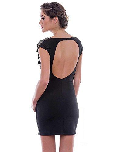 Lycra Abendkleid Catanzaro schwarz von Schwarz Applikationen mit Lederimitat Patrice wqCIvrnq