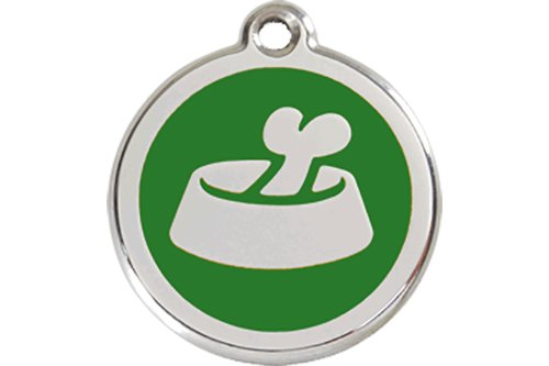 The K9 Palace Bone in Bowl Enamel Dog Tag Green – Small For Sale