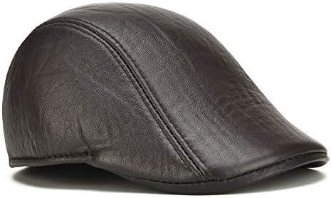 野球帽 キャスケット メンズ 鳥打帽 ゴルフ 革 日よけ 調整可能 防風 純色 ハンチング 55-60cm LWQJP (Color : 褐色, Size : 58)