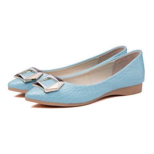 AllhqFashion Damen Rein Mattglasbirne Ohne Absatz Ziehen auf Spitz Zehe Flache Schuhe, Grau, 35