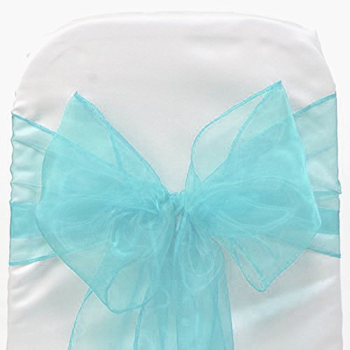 mds Pack of 100 Organza chair sashes bow Sash for wedding and Events Supplies Party Decoration chair cover sash -Terquoise