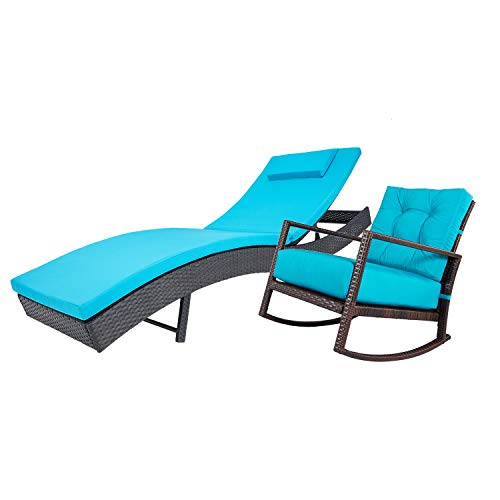 Incbruce Outdoor 2Pc Furniture Sets Adjustable Chaise Lounge Chair and Rocking Chair Bistro Set with All-Weather Wicker and Turquoise Thick Cushion, Garden, Pool Conversation Sets