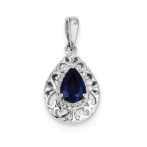 Sterling Silver Rhodium Plated Sapphire Teardrop Pendant by Diamond2Deal